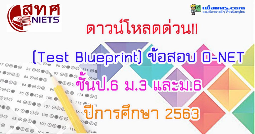 ดาวน์โหลด (Test Blueprint) ข้อสอบ O-NET ชั้นป.6 ม.3 และม.6 ปีการศึกษา 2563